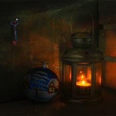 натюрморт з ліхтарем і ялинкової іграшкою