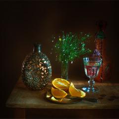 натюрморт с апельсином и ...