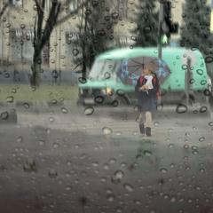 город,дождь,девочка