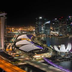 Вид на Марина Бэй(Marina Bay) с колеса обозрения.Сингапур!