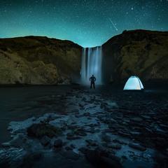 Ночь на Скогафосс