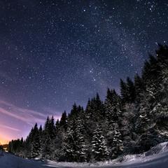 Зимняя ночь в Карпатах