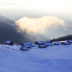 Колиби пастухів взимку