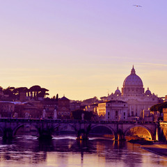 Sunset on the Ponte Sant'Angelo, Roma