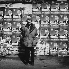 Pre-election posters and 90-year-old grandfather