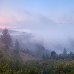 рассвет в тумане ..
