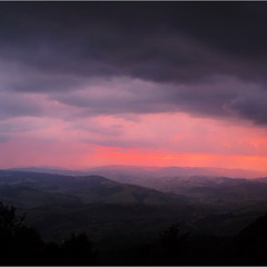 Закат с ливнем