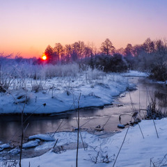 У речки зимним морозным утром.