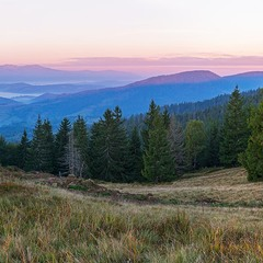 ...там де закінчуються Бескиди...г. Чорна Ріпа на світанку з видом на Боржавські полонини...