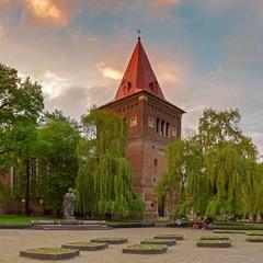 Дрогобич місто...центральна частина із памятником Юрію Дрогобичу із дзвіницею костелу Варфоломія...