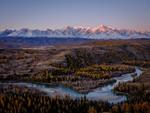 Рассвет над Северо-Чуйским хребтом и рекой Чуя