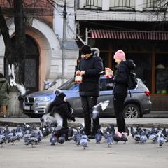 Дитинство і голуби. Полтава, Театральна площа