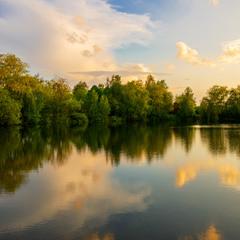 Вечір на міському озері
