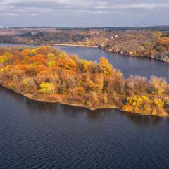Осенний остров Байда и русло Старого Днепра
