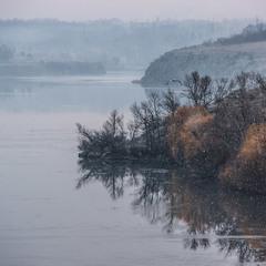 Утренний снег с туманом