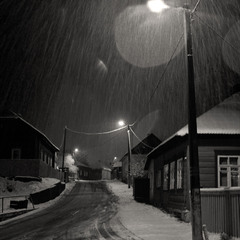 Old streets and first snow