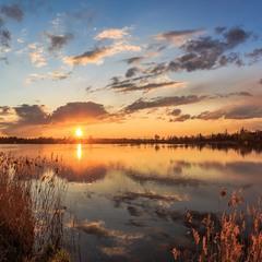 Панорамний захід сонця