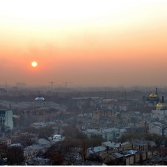 Центр Одессы с высоты на закате