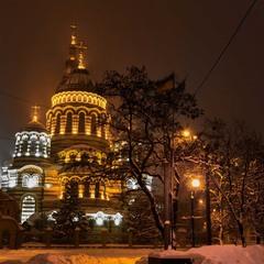 Зимний вечер над Благовещенским собором в Харькове...