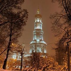 Зимний вечер над Успенским собором (Харьков)...