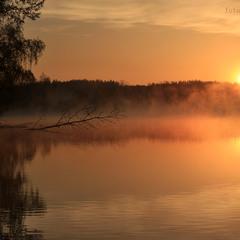 Foggy sunrise over a lake