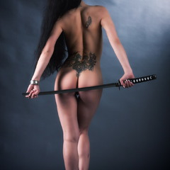 Katana Project.. Girl with dragon tattoo