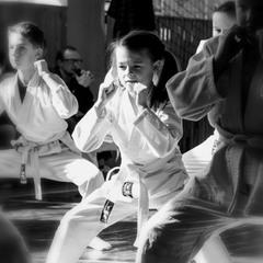 Girl among boys. Kids Karate School