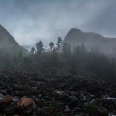 Туманый вечер в горах