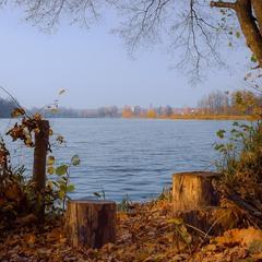 Коло озера восени.