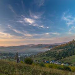 Вечір над Карпатським селом