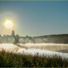 Туманным августовским утром у водоема...