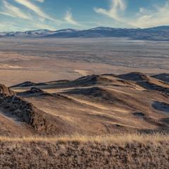 Октябрь... Вечереет... Вид на долину с высоты 2500 м....