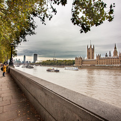Palace of Westminster and river Thames, London