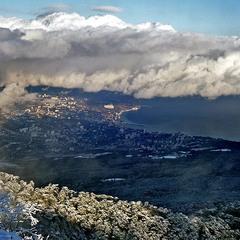 Ялта зимой. С вершины Ай-Петри.
