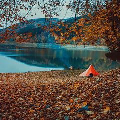 ночевка на берегу озера