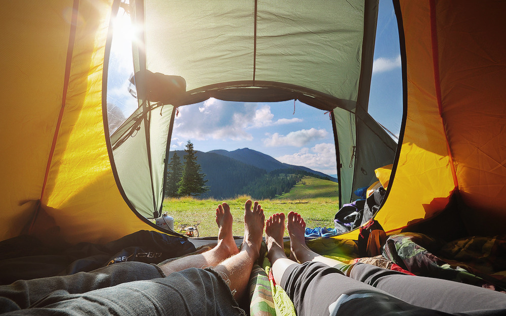 Фотографии ног из палатки вдвоем