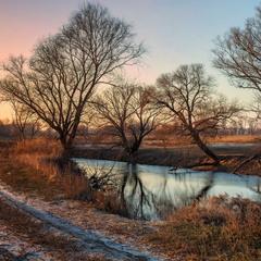 Зимний закат на реке
