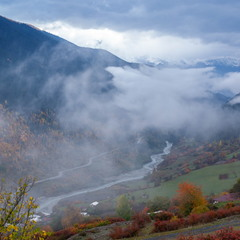 Туманная осень в горах