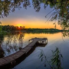 Тихий літній вечір на ставку