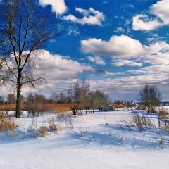 Зима і сніг, холодні хмари