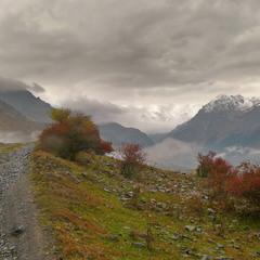 Пасмурная осень в горах