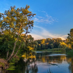 Цвет заката на реке