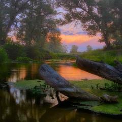 Светлый вечер на речке Боровой