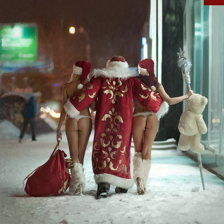 смешные картинки про снегурочку и деда мороза ниже фото демонстрирует