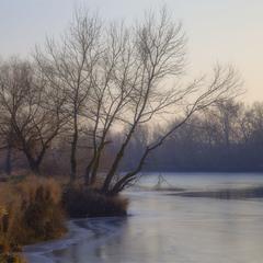 Зимние сумерки над рекой